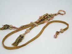 Gold antique chain for pocket watch/chatelaine in 18 kt, around late 19th century