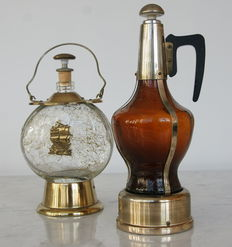2 Music boxes in liquor bottles - finished with copper fittings.