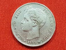 Spain – 1 silver pesetas from King Alfonso XIII – Year 1899