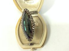 Old Marquise ring with green tourmaline and diamonds