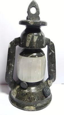 Decorative and elaborate oil lamp (copy) in fossil stone with Orthoceras and mineral selenite - 1.55 kg