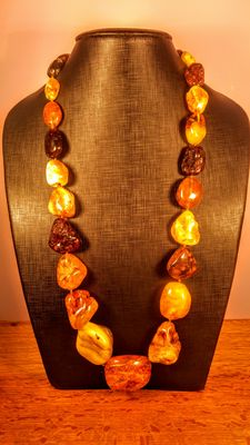 Long Genuine Baltic Amber, multi colur Italian style necklace, 164 grams