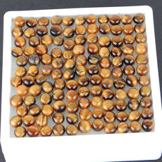Collection of natural Tiger's Eye cabochons - 7mm - 54,4gm  (184)