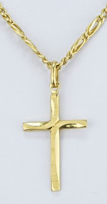 18 kt gold designer cross pendant