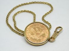 Vintage watch chain / chatelaînein 18 K gold with a 5 US dollar coin,  for a pocket watch