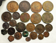 Spain. Lot of 24 copper coins (1400-1937)