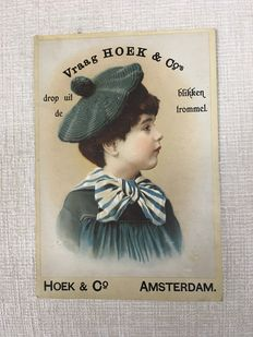 Advertising cardboard card - Hoek & Co - Amsterdam, ca. 1910