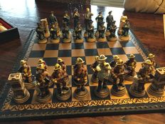 Chess/backgammon game in leather box