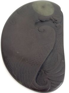 Signed Ink stone with calligraphy and detailed bird motif - China - second half 20th century