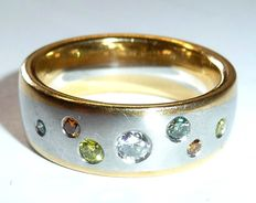 Christian Bauer 950 platinum with 18k / 750 solid ring with colourful fancy diamonds 5 colours 0.305ct. Brilliant cut