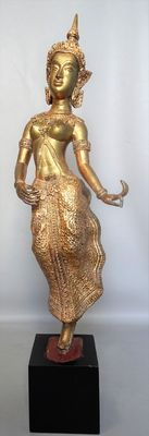 Standing gilded bronze Buddha (approx. 58 cm) - Thailand - second half 20th century