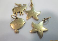 Dodo Pomellato - 4 gold charms - approx. 1 cm each