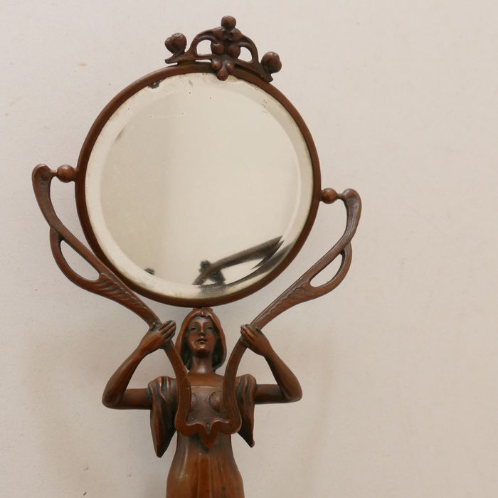 Jugendstil bronze figure with a mirror