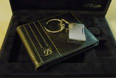 Set leather wallet and keyring S.T.Dupont