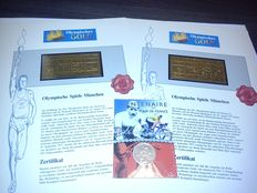 Tour De France 1903-2003 - 900 silver coin & two Olympic gold plaques from 1972. XX Olympic games in Munich
