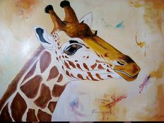 Large painting of giraffe of the Savannah - Felix Sylva