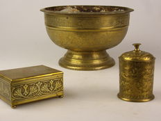 Large brass Indian bowl, brass cigar box and brass tobacco jar