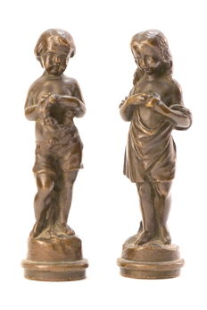 "Two statuettes in bronze with brown patina ""Boy and girl"" - France - late XIXth"