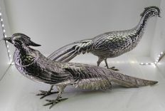 Pair of silver pheasants - Handcrafted