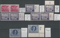 German Reich 1943/1944 – Selection plate errors – Michel 846I, 846II, 893II, 893IV, 893V, 893VI, 908I