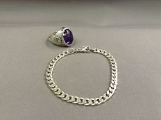 925 silver ring with Chou symbols, set with amethyst, and silver bracelet