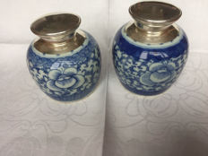 Chinese ginger jars with Dutch silver mounts