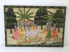 Scenery of Vishnu, Parvati and other figures, painted on silk – India – mid 20th century