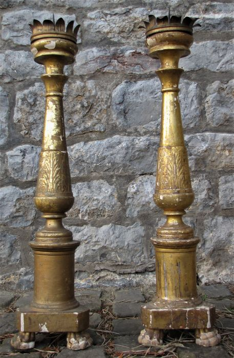 Pair of gilded wooden candle holders - 19th century