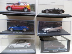 Various - Scale 1/43 - Lot with  Opel Diplomat Cabrio Fissore, Opel Astra, Mercedes-Benz SLS, SLK, ML en E Klasse Coupé