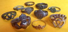 Set of 10 faith rings in gold, silver and bronze