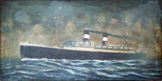 Oil on canvas of the liner MS Augustus  - circa 1930