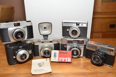 Lot of 6 German cameras from the late '50s/'60s, mainly Agfa but also a Franka and Adox. Most 35 mm types and a Ticky Flash.