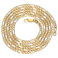Bi-colour gold figaro link necklace
