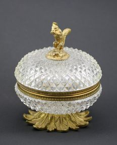 A brass and crystal lidded box, France, 20th century
