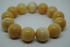 Bracelet Baltic Amber Butterscotch round beads - 39g -17,4mm