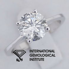 IGI 1.50 ct Round Brilliant Cut Diamond Solitaire Ring 14 kt / 585 white gold, size 53 / 16.90 mm ***Free Resize***