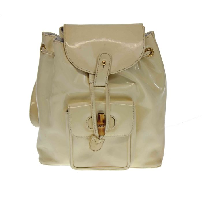 0e05f92318e Gucci Bamboo patent leather backpack – Vintage - Catawiki