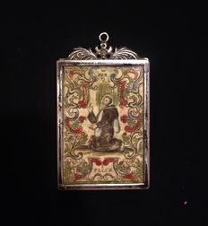 San Felix martyr reliquary in silver with coloured engraving - Spain - end of the 18th century