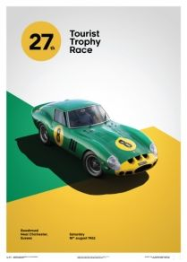 Ferrari Collection - fine art print - Ferrari 250 GTO GREEN - GOODWOOD 1962 - 70CM X 50CM