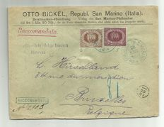 San Marino, 1877 - Stamped envelope with dark brown 30 cent + 25 cent, sealing wax, from San Marino to Bruxelles.