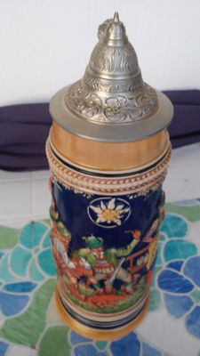 Beer stein with tin lid - original Gerzit - Gerz Germany hand-painted - 1920s