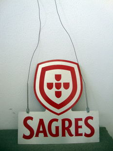 Metal Advertising Sagres Beer - double side display - Portugal - period late 20th/beginning 21th century.