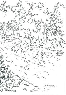 Rodier, Yves - Original drawing - Tintin and Milou, running in Moulinsart Park - Tribute to Hergé