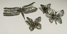 Four Miniatures of insects in Silver: A Dragonfly and three butterflies