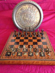 Vintage Egypt chess set in bronze and tray, wooden board lined in leather 61 x 61