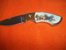 """Franklin Mint - Hunting knives - """"Brown and Black Labrador Dog"""" - In good condition"""