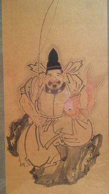 Scroll painting with Ebisu - Japan - beginning of the 20th century