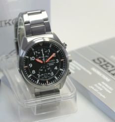 Seiko Chronograph steel 100 m (10 ATM) - men's wristwatch, new, never worn