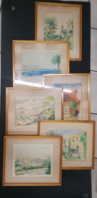 Georges Conrardy (1908-1978) - Views of Spain - Lot of 6 watercolours