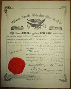 USA - Essex County Volunteer War Bond - $100 1865 - Northern Civil War bounty bond